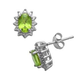 Sterling Silver Peridot Diamond Accent Button Stud Earrings