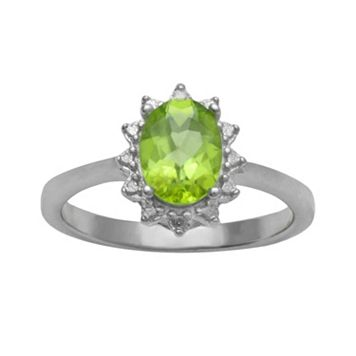 Sterling Silver Peridot Diamond Accent Ring