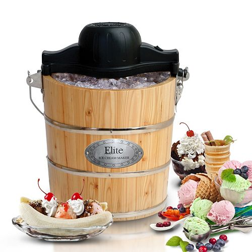 Elite Gourmet 4-qt. Wood Bucket Ice Cream Maker