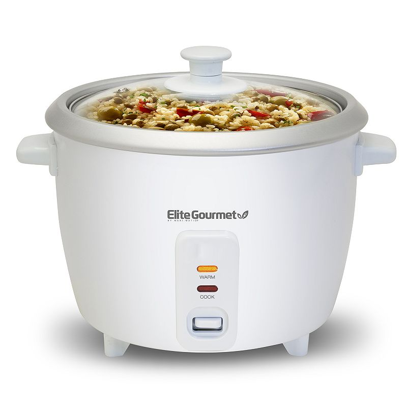 Elite Cuisine 6-Cup Rice Cooker, White