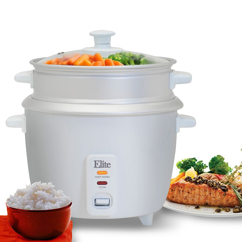 Elite Gourmet 6-Cup Rice Cooker with Steam Tray, White