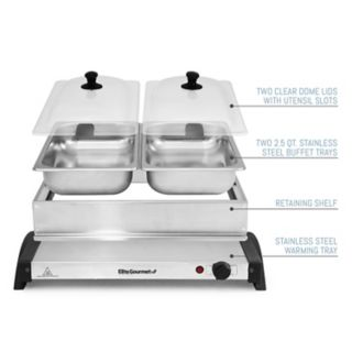 Elite Gourmet Stainless Steel Electric Double Buffet Server