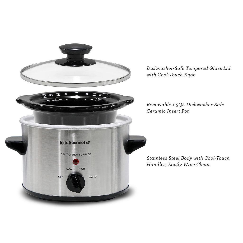 Elite Gourmet 1.5-qt. Stainless Steel Mini Slow Cooker