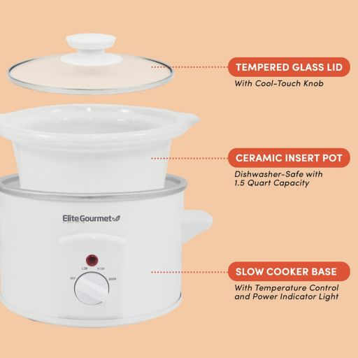 Elite Cuisine 1.5-qt. Mini Round Slow Cooker