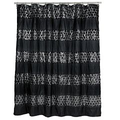 Sinatra Fabric Shower Curtain White Champagne Black