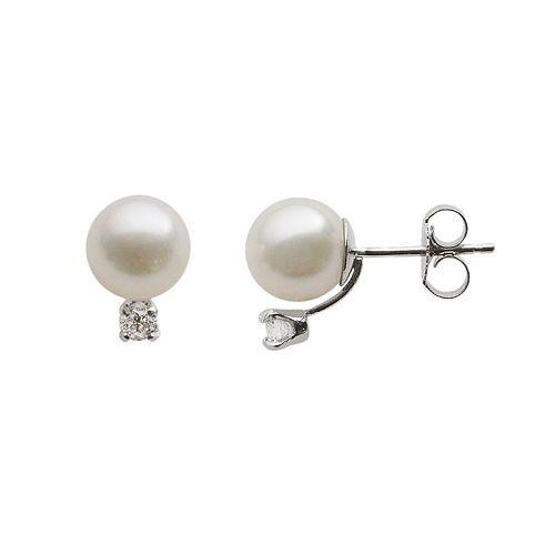 18k White Gold AA Akoya Cultured Pearl & 1/7-ct. T.W. Diamond Stud Earrings (7-7.5 mm)