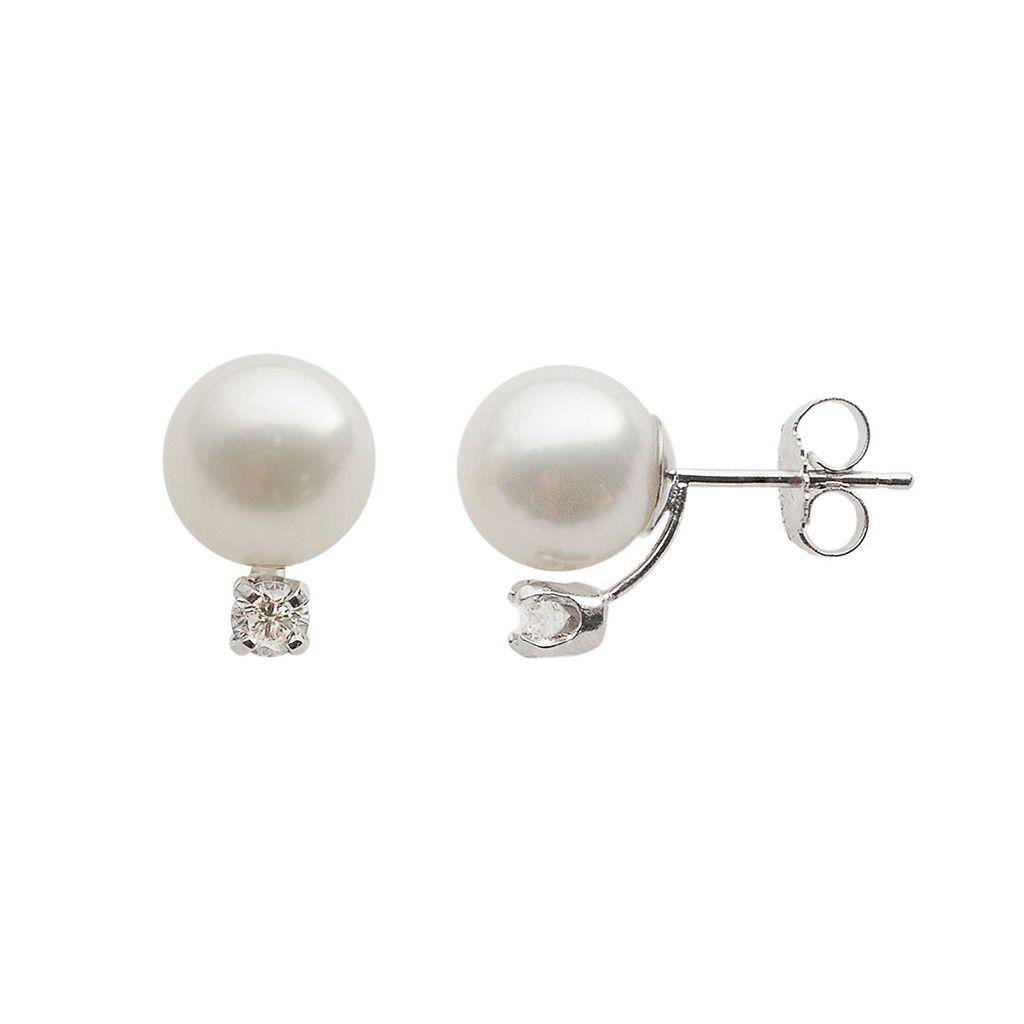 18k White Gold AA Akoya Cultured Pearl & 1/5-ct. T.W. Diamond Stud Earrings (8-8.5 mm)