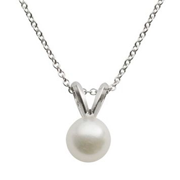 18k White Gold AA Akoya Cultured Pearl Pendant - 16 in.