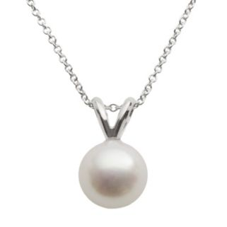 18k White Gold AA Akoya Cultured Pearl Pendant - 18 in.