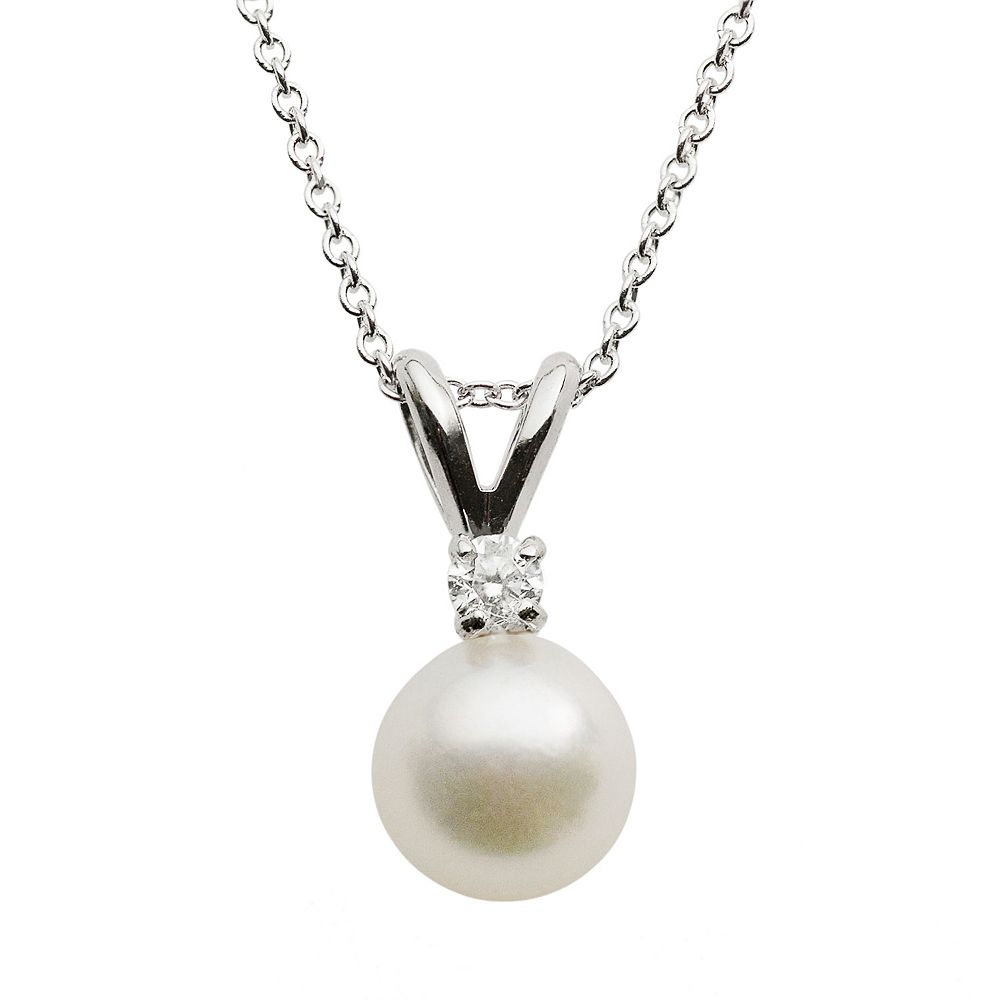 18k White Gold AA Akoya Cultured Pearl & Diamond Accent Pendant - 16 in.