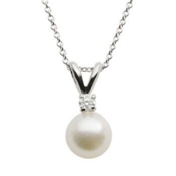18k White Gold AA Akoya Cultured Pearl and Diamond Accent Pendant 16 in.