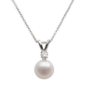 18k White Gold 1/10-ct. T.W. Diamond & AA Akoya Cultured Pearl Pendant - 16 in.