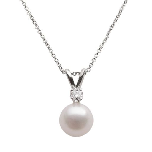 18k White Gold 1/10-ct. T.W. Diamond and AA Akoya Cultured Pearl Pendant 16 in.