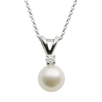 18k White Gold AA Akoya Cultured Pearl and Diamond Accent Pendant - 18 in.