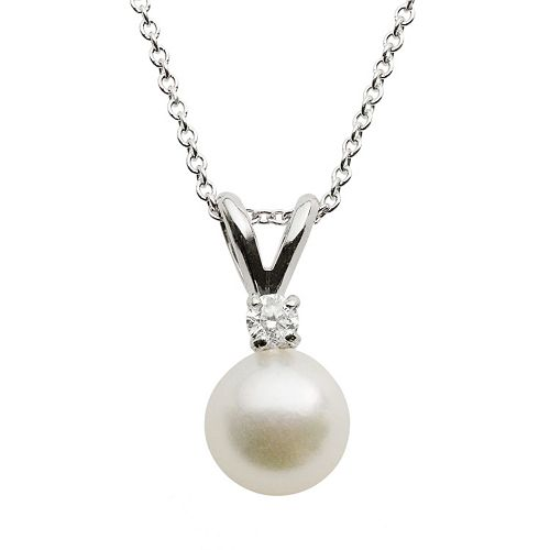 18k White Gold AA Akoya Cultured Pearl & Diamond Accent Pendant - 18 in.