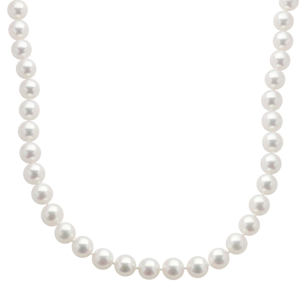 18k White Gold AAA Akoya Cultured Pearl Necklace