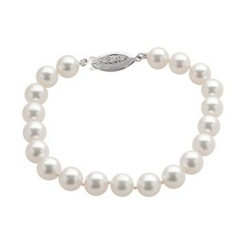 18k White Gold AAA Akoya Cultured Pearl Bracelet (7.5-8 mm)