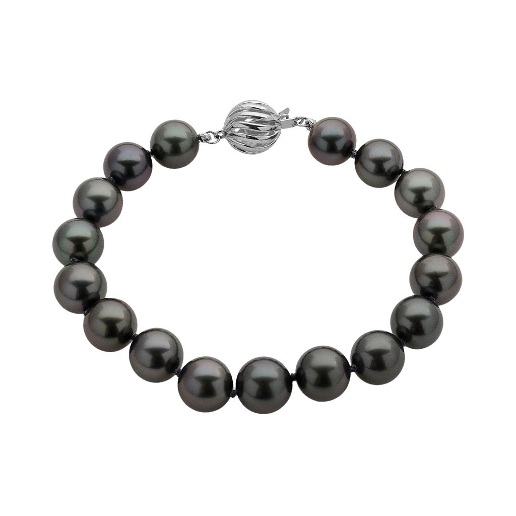 18k White Gold Tahitian Cultured Pearl Bracelet
