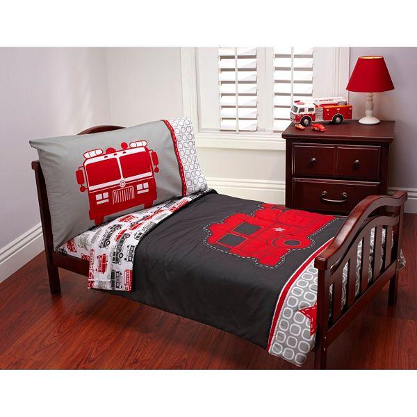 Pc Fire Truck Toddler Bedding Set, Twin Fire Truck Bedding
