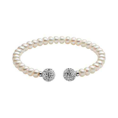 Freshwater by HONORA Sterling Silver Freshwater Cultured Pearl and Crystal Cuff Bracelet