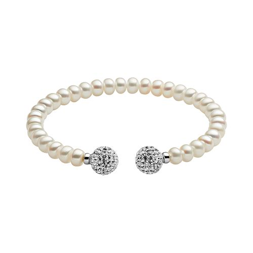 Freshwater by HONORA Sterling Silver Freshwater Cultured Pearl & Crystal Cuff Bracelet