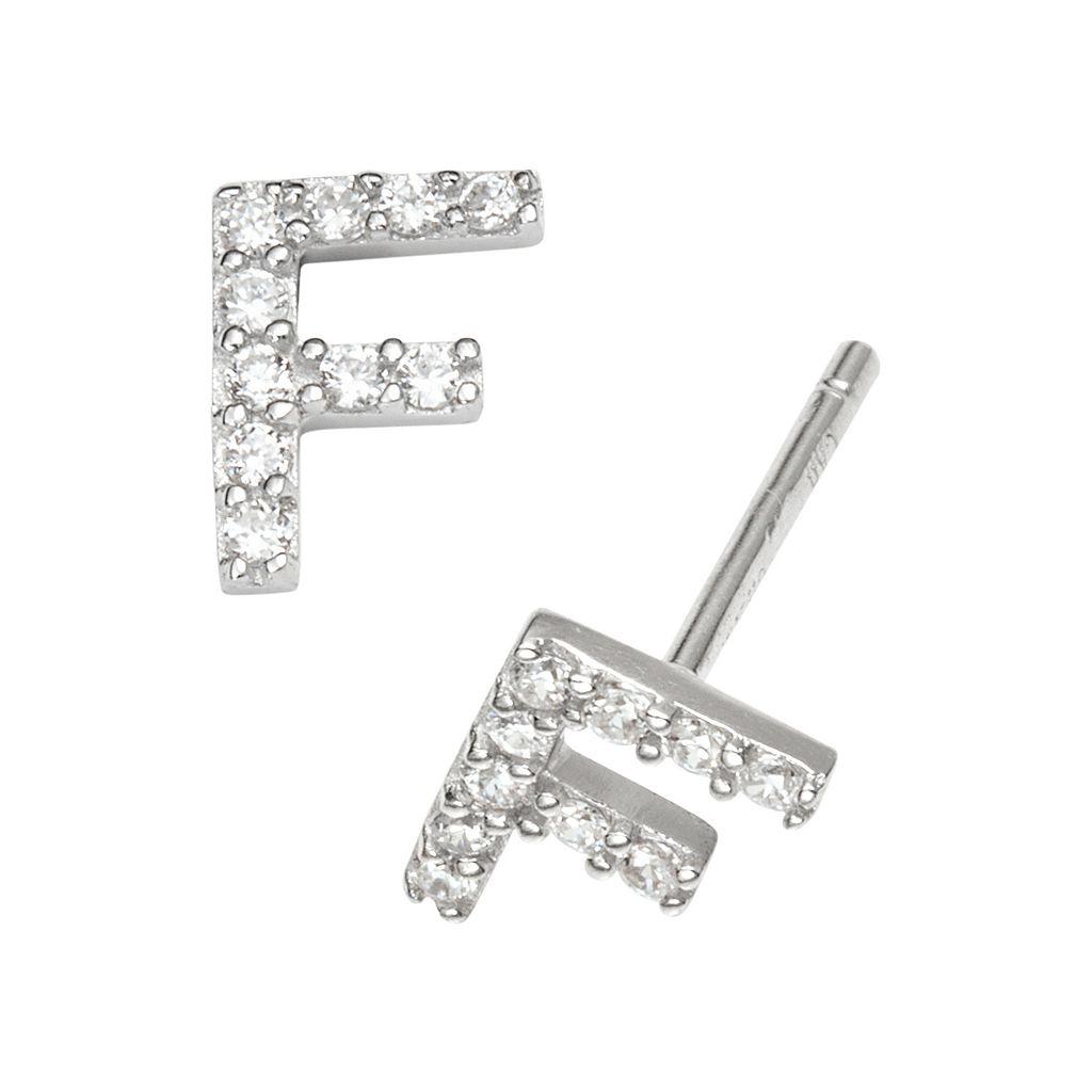 Sophie Miller Sterling Silver Cubic Zirconia Initial Stud Earrings