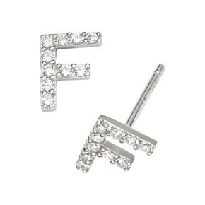 Sophie Miller Sterling Silver Cubic Zirconia Initial Stud Earrings
