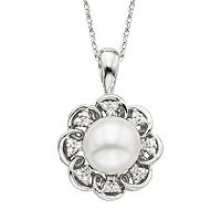 Simply Vera Vera Wang Sterling Silver Freshwater Cultured Pearl & Diamond Accent Flower Pendant