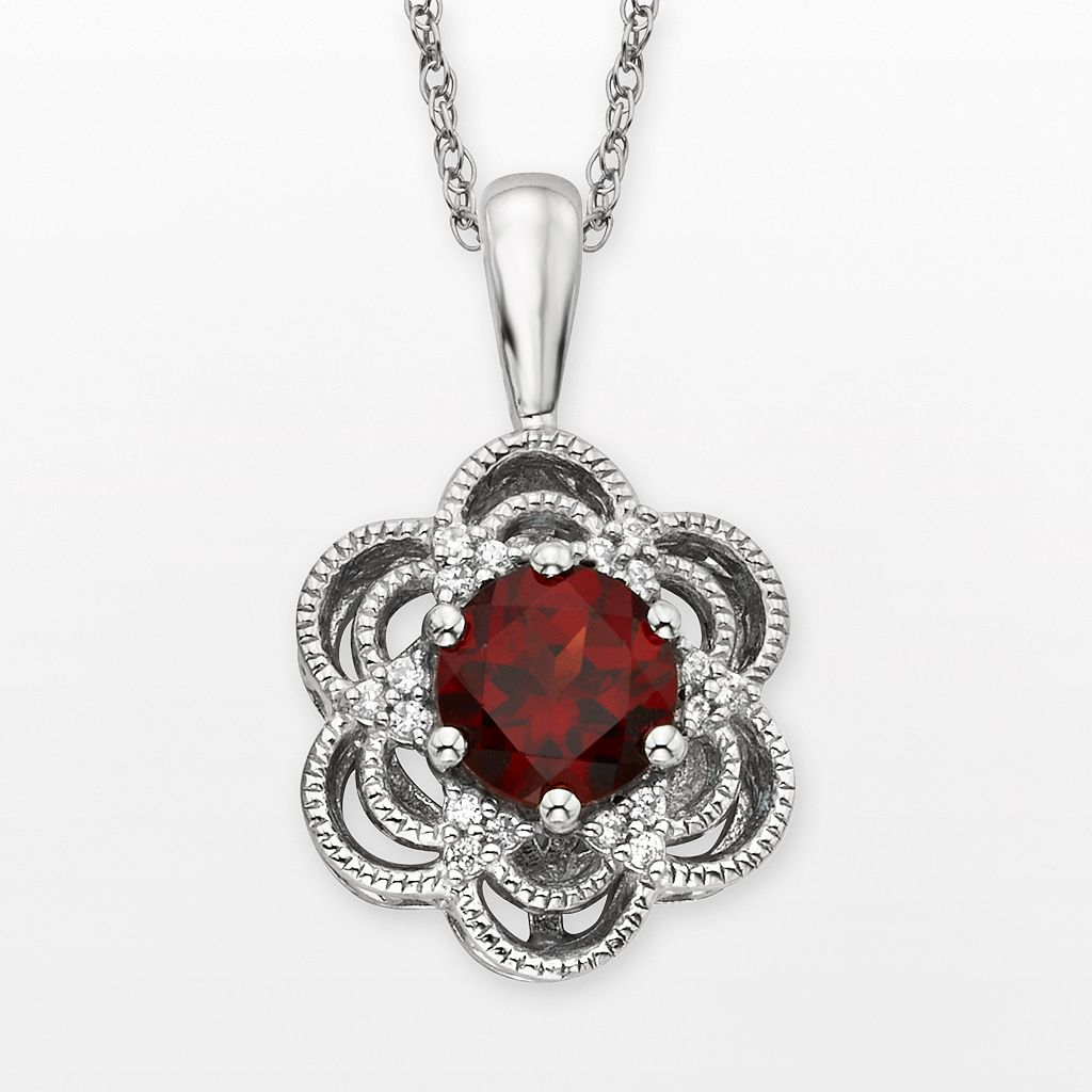 Simply Vera Vera Wang Sterling Silver Garnet & 1/10-ct. T.W. Diamond Flower Pendant