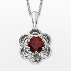 Simply Vera Vera Wang Sterling Silver Garnet and 1/10-ct. T.W. Diamond Flower Pendant
