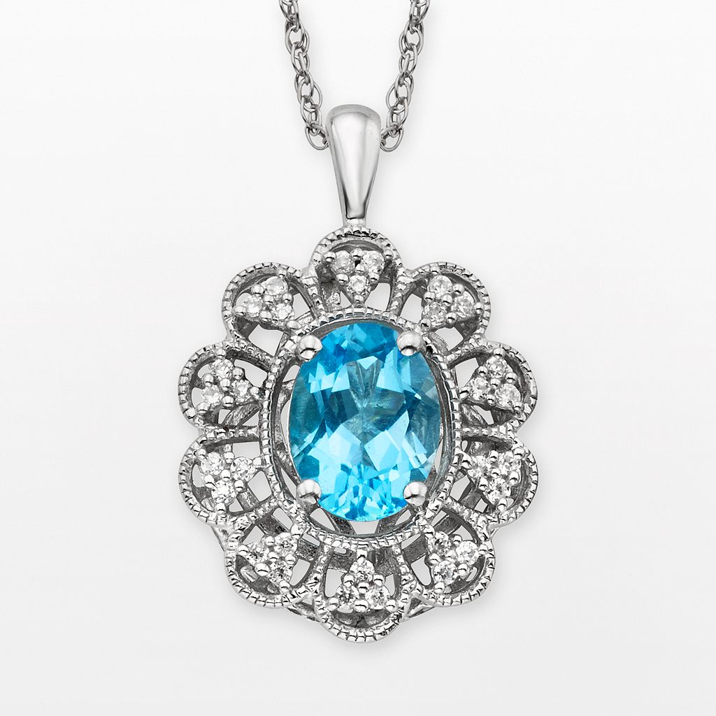 Simply Vera Vera Wang Sterling Silver Blue Topaz & 1/4-ct. T.W. Diamond Pendant