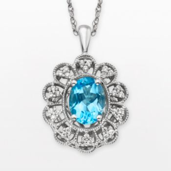 Simply Vera Vera Wang Sterling Silver Blue Topaz and 1/4-ct. T.W. Diamond Pendant