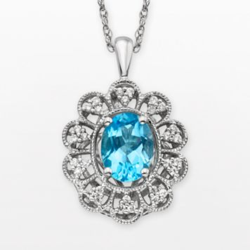 Simply Vera Vera Wang Sterling Silver Blue Topaz & 1/4-ct. T.W. Diamond Pendant