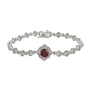 Simply Vera Vera Wang Sterling Silver Garnet and 1/7-ct. T.W. Diamond Bracelet