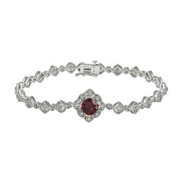 Simply Vera Vera Wang Sterling Silver Garnet & 1/7-ct. T.W. Diamond Bracelet