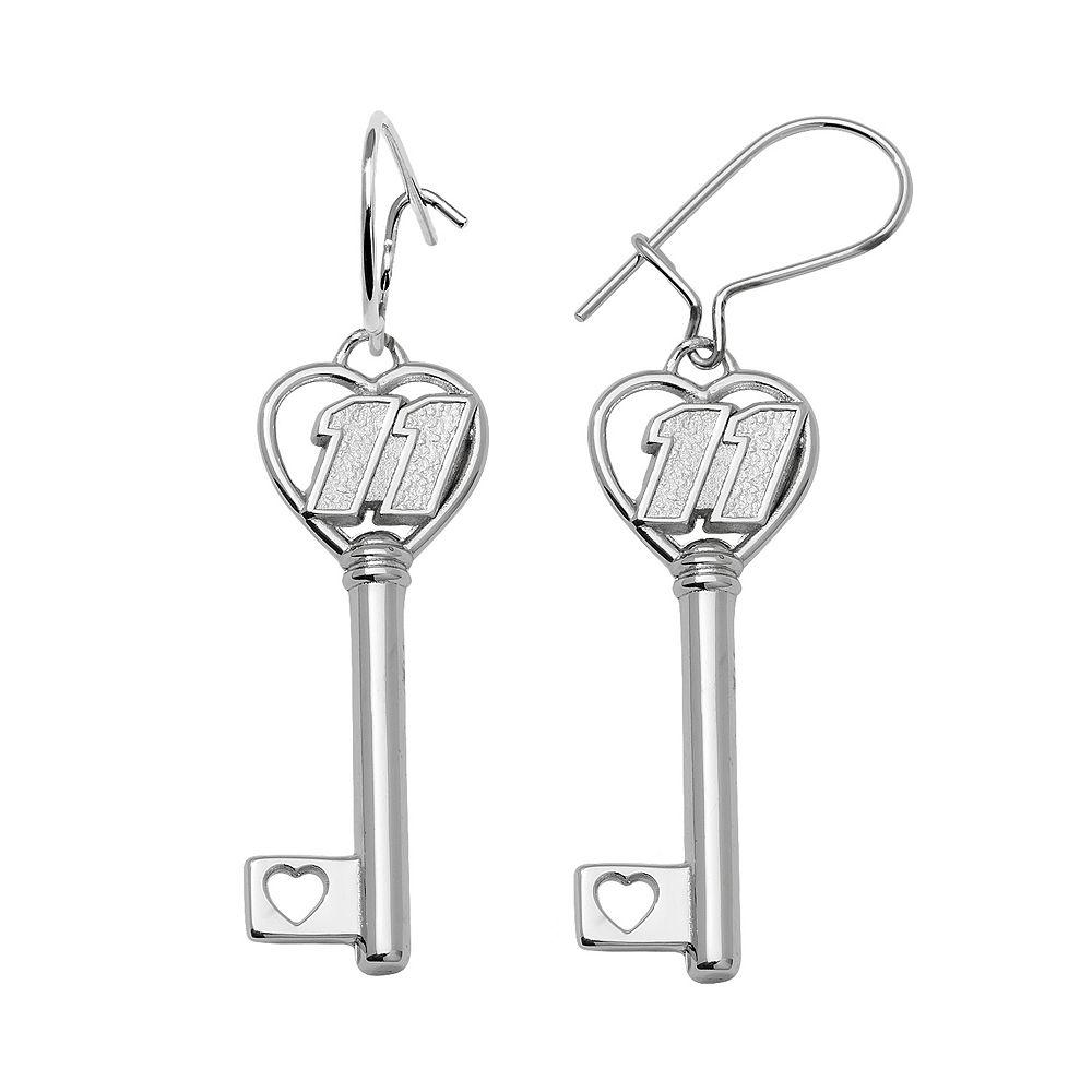 "Insignia Collection NASCAR Denny Hamlin Sterling Silver ""11"" Heart Key Drop Earrings"