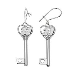 Insignia Collection NASCAR Denny Hamlin Sterling Silver '11' Heart Key Drop Earrings