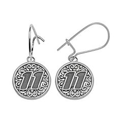 Insignia Collection NASCAR Denny Hamlin Sterling Silver '11' Drop Earrings