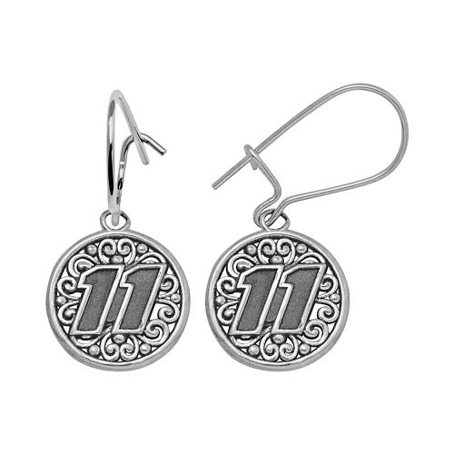 "Insignia Collection NASCAR Denny Hamlin Sterling Silver ""11"" Drop Earrings"