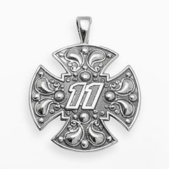 Insignia Collection NASCAR Denny Hamlin Sterling Silver '11' Maltese Cross Pendant