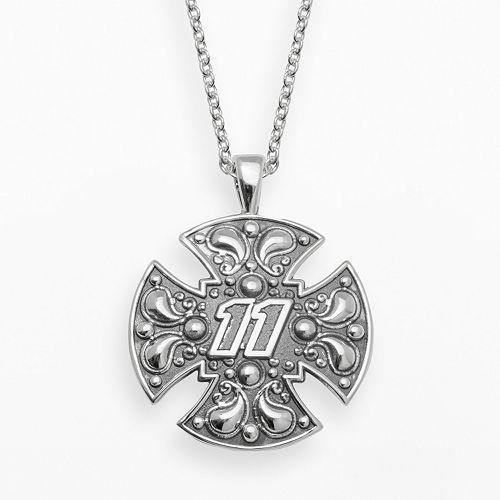 "Insignia Collection NASCAR Denny Hamlin Sterling Silver ""11"" Maltese Cross Pendant"