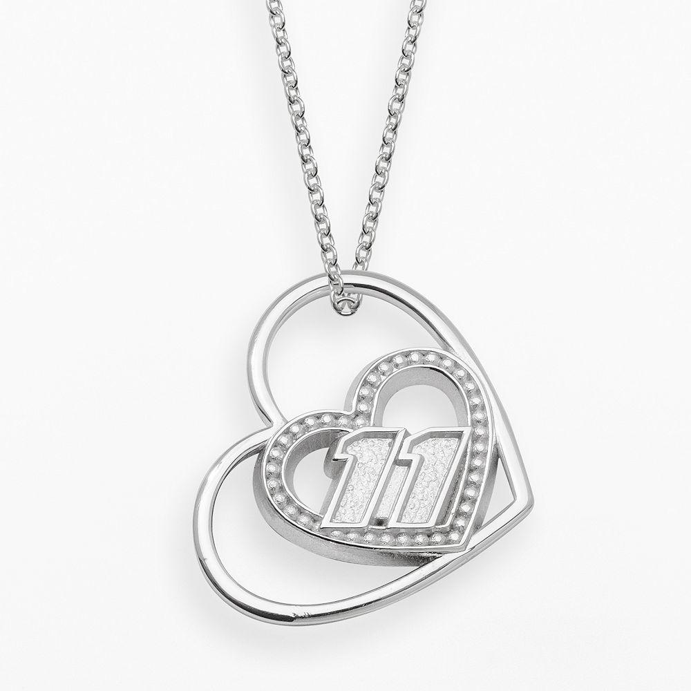 "Insignia Collection NASCAR Denny Hamlin Sterling Silver ""11"" Heart Pendant"
