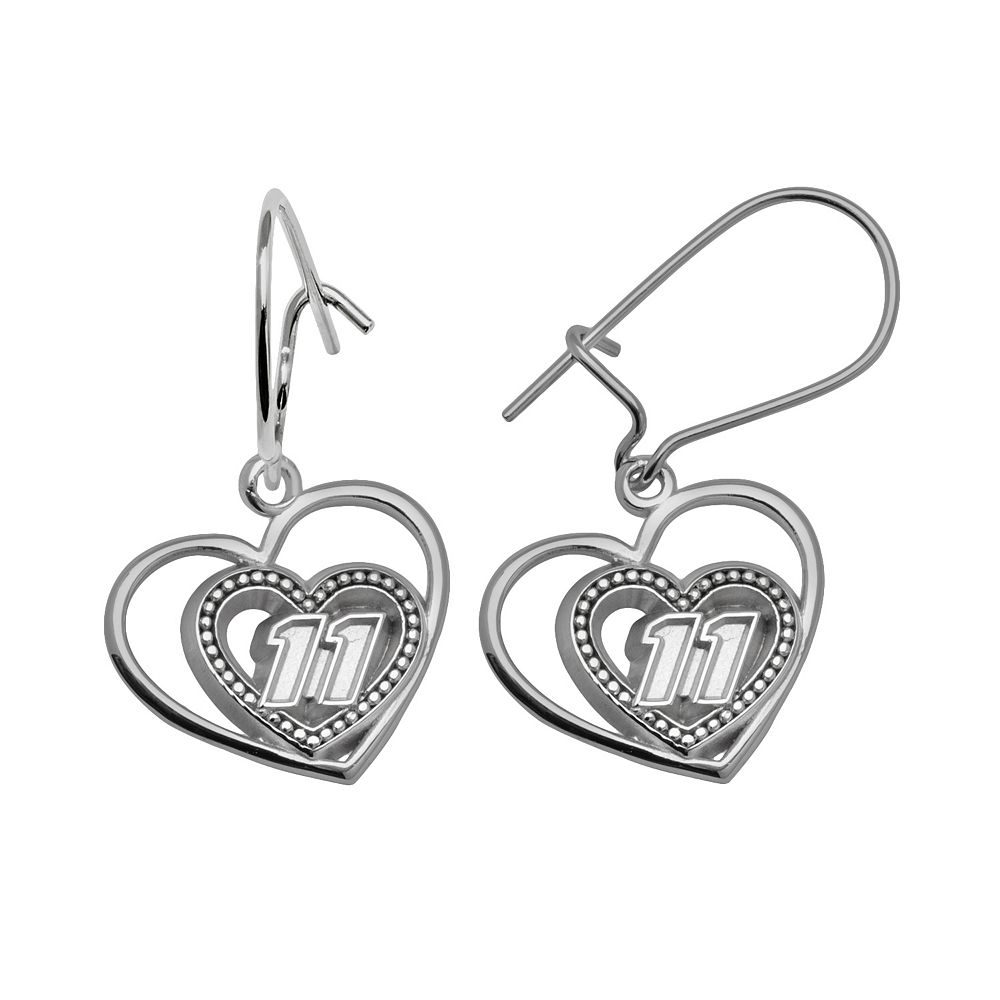 "Insignia Collection NASCAR Denny Hamlin Sterling Silver ""11"" Heart Drop Earrings"