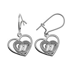 Insignia Collection NASCAR Denny Hamlin Sterling Silver '11' Heart Drop Earrings