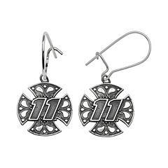 Insignia Collection NASCAR Denny Hamlin Sterling Silver '11' Maltese Cross Drop Earrings