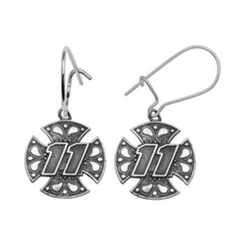 Insignia Collection NASCAR Denny Hamlin Sterling Silver 11 Maltese Cross Drop Earrings