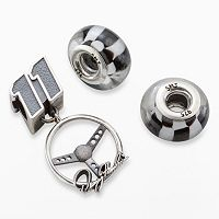 Insignia Collection NASCAR Denny Hamlin Sterling Silver Steering Wheel Charm & Checkered Flag Bead Set
