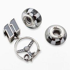 Insignia Collection NASCAR Denny Hamlin Sterling Silver Steering Wheel Charm & Checkered Flag Bead Set