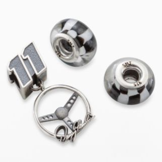 Insignia Collection NASCAR Denny Hamlin Sterling Silver Steering Wheel Charm and Checkered Flag Bead Set