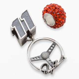 Insignia Collection NASCAR Denny Hamlin Sterling Silver Steering Wheel Charm and Crystal Bead Set